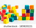 colorful wooden building blocks ... | Shutterstock . vector #185820221