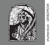 skull horror grim reaper drink... | Shutterstock .eps vector #1858249234