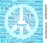 "Peace sign consisting of the phrases ""Peace"" in different languages of the world (En, Ru, De, Es, Fr, It, Pl, Uk, Ron, El, Pt, Cs, Da, Fin, Hr, No, Is, Tr, Geo, Ar, He, Hi, Th, Chi, Ko, Jpn.."