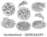 italian pizza and slice fast... | Shutterstock .eps vector #1858266394