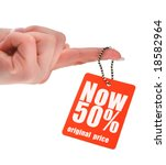 hand holding price tag, photo does not infringe any copyright - stock photo
