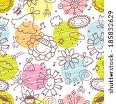 cute flowers. seamless pattern. | Shutterstock .eps vector #185832629