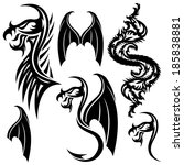 vector set. tattoo elements. | Shutterstock .eps vector #185838881
