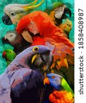 Modern Parrots Oil Painting....