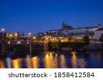 Prague Castle Panorama At Night