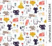cute cat pattern vector tshirt... | Shutterstock .eps vector #1858421344