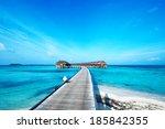 beautiful beach with water...   Shutterstock . vector #185842355