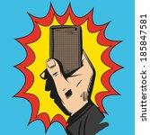 mobile phone rings in hand.... | Shutterstock .eps vector #185847581