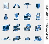insurance security icons set of ... | Shutterstock . vector #185850341
