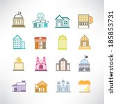 cute building icons set | Shutterstock .eps vector #185853731