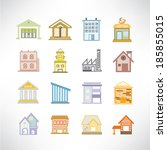 cute building icons set | Shutterstock .eps vector #185855015