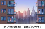 people on city balcony during... | Shutterstock . vector #1858609957