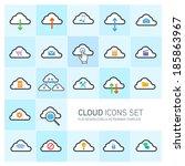 flat design cloud computing...