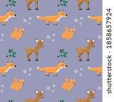 cute forest animals  fox   deer ... | Shutterstock .eps vector #1858657924