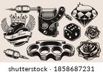 a set of black and white... | Shutterstock .eps vector #1858687231