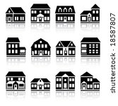 twelve house silhouettes | Shutterstock .eps vector #18587807