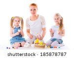 mother and daughters kid paint... | Shutterstock . vector #185878787