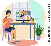 women talking by video chat.... | Shutterstock .eps vector #1858883851