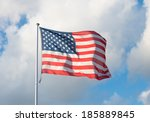 american flag blowing in the... | Shutterstock . vector #185889845