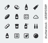 vector medications mini icons... | Shutterstock .eps vector #185893589