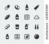 vector medications mini icons... | Shutterstock .eps vector #185893589