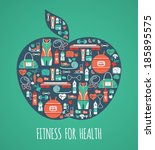 fitness icons background  | Shutterstock .eps vector #185895575