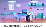 doctor with stethoscope at... | Shutterstock .eps vector #1858973107