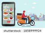 food delivery mobile app. for...   Shutterstock .eps vector #1858999924