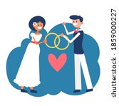 interracial marriage of young... | Shutterstock .eps vector #1859000227