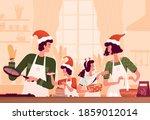 happy family in santa hats... | Shutterstock .eps vector #1859012014