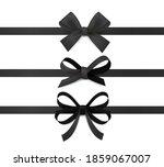 black ribbon bows. silk ribbons ...   Shutterstock .eps vector #1859067007