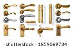golden door handles. realistic... | Shutterstock .eps vector #1859069734