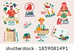 vegan and recycle stickers.... | Shutterstock .eps vector #1859081491