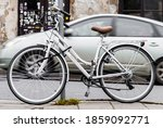 White Vintage Bicycle Parked On ...