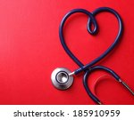 stethoscope isolated on red... | Shutterstock . vector #185910959