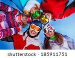 five happy friends standing... | Shutterstock . vector #185911751