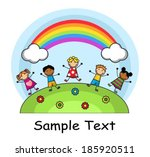 cartoon kids jumping on meadow... | Shutterstock .eps vector #185920511