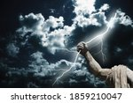 Small photo of Mighty god Zeus. The power of king of Olympic gods is the ability to throw lightning bolts. Fragment of an ancient statue.