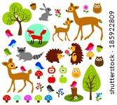 woodland animal clip art | Shutterstock .eps vector #185922809