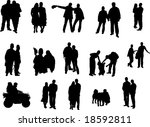 silhouette of couples of people | Shutterstock .eps vector #18592811