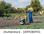 Man Cultivates The Ground In...
