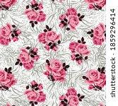 roses pattern on zebra...   Shutterstock .eps vector #1859296414