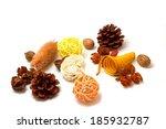 Brown Cones Orange Dried Flowers
