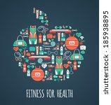 fitness icons background  | Shutterstock .eps vector #185938895