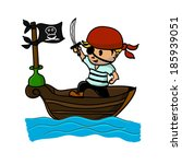 pirate on boat in the sea | Shutterstock .eps vector #185939051