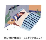 young couple sleeping together... | Shutterstock .eps vector #1859446327