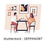 happy young couple eating meal... | Shutterstock .eps vector #1859446387
