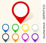 colorful map pin icon in flat... | Shutterstock .eps vector #185947121