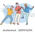 the boys are playing the guitar ... | Shutterstock .eps vector #1859476294