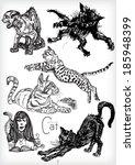 hand drawn cat vector set | Shutterstock .eps vector #185948399
